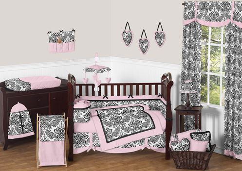Pink and Black Sophia Crib Bedding - 9pc crib set - Click to enlarge