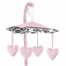 Pink and Black Sophia Musical Baby Girl Crib Mobile by Sweet Jojo Designs