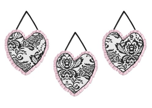 Pink and Black Sophia Wall Hanging Accessories by Sweet Jojo Designs - Click to enlarge