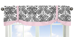 Pink and Black Sophia Window Valance by Sweet Jojo Designs