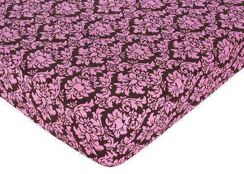 Pink and Brown Bella Fitted Crib Sheet for Baby and Toddler Bedding Sets by Sweet Jojo Designs - Damask Print - Click to enlarge