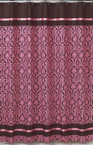 Shower Curtains Pink And Brown.Pink And Brown Bella Kids Bathroom Fabric Bath Shower Curtain Only