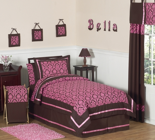Pink and Brown Bella Children's & Teen Bedding - 3 pc Full / Queen Set - Click to enlarge
