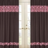 Pink and Brown Bella Window Treatment Panels - Set of 2