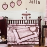 Pink and Brown French Toile and Polka Dot Baby Bedding - 9 pc Crib Set