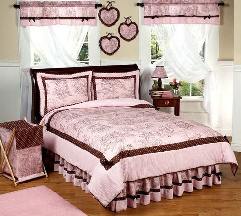 Pink and Brown French Toile and Polka Dot Childrens Bedding - 4 pc Twin Set - Click to enlarge