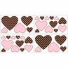 Pink and Brown French Toile and Polka Dot Girls Baby and Kids Wall Decal Stickers - Set of 4 Sheets