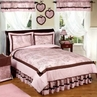 Pink and Brown French Toile and Polka Dot Girls Bedding -  3 pc Full / Queen Set