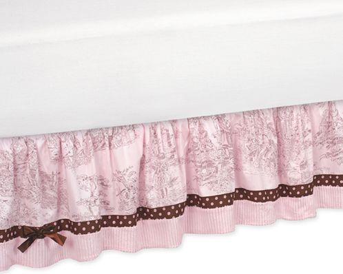 Pink and Brown French Toile and Polka Dot Queen Bed Skirt by Sweet Jojo Designs - Click to enlarge
