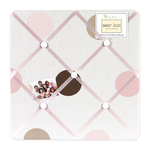 Pink and Brown Mod Dots Fabric Memory/Memo Photo Bulletin Board - Click to enlarge