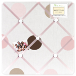 Pink and Brown Mod Dots Fabric Memory/Memo Photo Bulletin Board