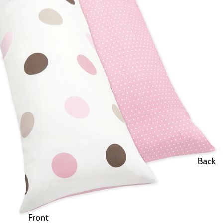 Pink and Brown Mod Dots Full Length Double Zippered Body Pillow Case Cover by Sweet Jojo Designs - Click to enlarge
