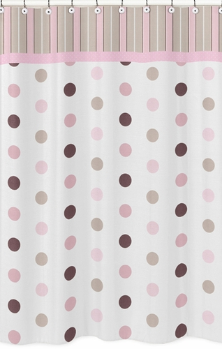 Pink and Brown Mod Dots Kids Bathroom Fabric Bath Shower Curtain - Click to enlarge