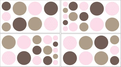 Pink and Brown Mod Dots Peel and Stick Wall Decal Stickers Art Nursery Decor by Sweet Jojo Designs - Set of 4 Sheets - Click to enlarge
