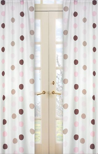 Pink and Brown Mod Dots Window Treatment Panels - Set of 2 - Click to enlarge