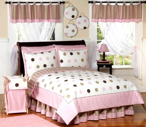 Pink and Brown Modern Dots Childrens  Bedding - 4 pc Twin Set - Click to enlarge