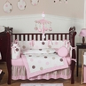 Pink and Brown Modern Polka Dot Baby Bedding - 9 pc Crib Set