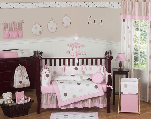 Pink and Brown Modern Polka Dot Baby Bedding - 9 pc Crib Set - Click to enlarge