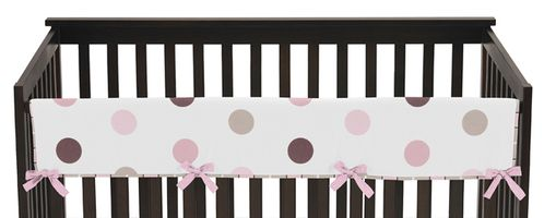 Pink and Brown Modern Polka Dots Baby Crib Long Rail Guard Cover by Sweet Jojo Designs - Click to enlarge