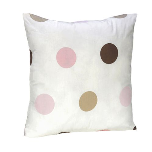 Pink and Brown Modern Polka Dots Throw Pillow - Click to enlarge
