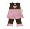 Pink and Brown Paisley 2pc Baby Girls Boutique Outfit