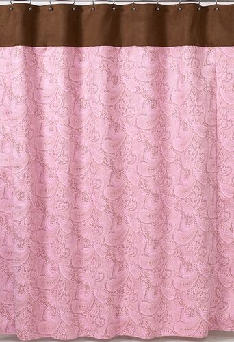 Pink and Brown Paisley Kids Bathroom Fabric Bath Shower Curtain - Click to enlarge