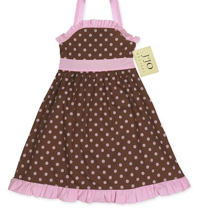 Pink and Brown Polka Dot Baby Dress by Sweet Jojo Designs - Click to enlarge
