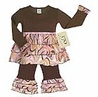Pink and Brown Swirl Rumba Baby Girls 2pc Outfit by Sweet Jojo Designs