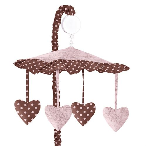 Pink and Brown Toile and Polka Dot Girls Musical Crib Mobile by Sweet Jojo Designs - Click to enlarge