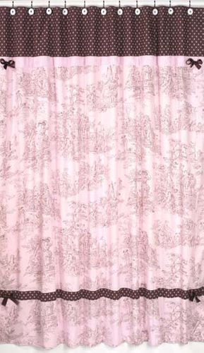Pink and Brown Toile and Polka Dot Kids Bathroom Fabric Bath Shower Curtain - Click to enlarge