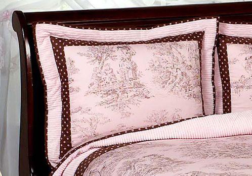Pink and Brown Toile and Polka Dot Pillow Sham - Click to enlarge