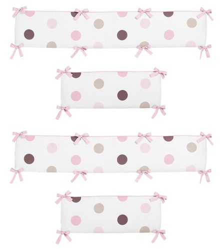 Pink and Chocolate Mod Dots Collection Crib Bumper by Sweet Jojo Designs - Click to enlarge