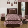 Pink and Chocolate Nicole Childrens and Teen Bedding Set - 4 pc Twin Set