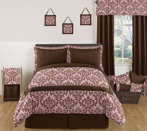 Pink and Chocolate Nicole Childrens, Kids, Teen Bedding - 3pc Full / Queen Set by Sweet Jojo Designs - Click to enlarge
