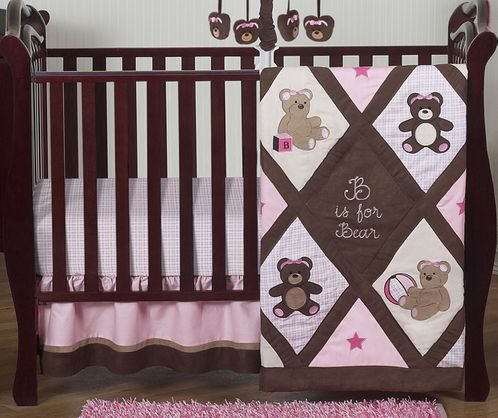 Pink and Chocolate Teddy Bear Baby Girls Bedding - 4pc Crib Set - Click to enlarge