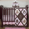 Pink and Chocolate Teddy Bear Baby Girls Bedding - 4pc Crib Set