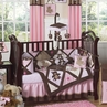 Pink and Chocolate Teddy Bear Baby Girls Bedding - 9pc Crib Set