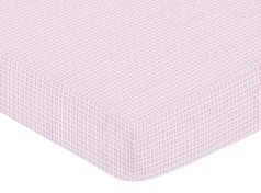 Pink and Chocolate Teddy Bear Fitted Crib Sheet for Baby and Toddler Bedding Sets by Sweet Jojo Designs - Plaid Print