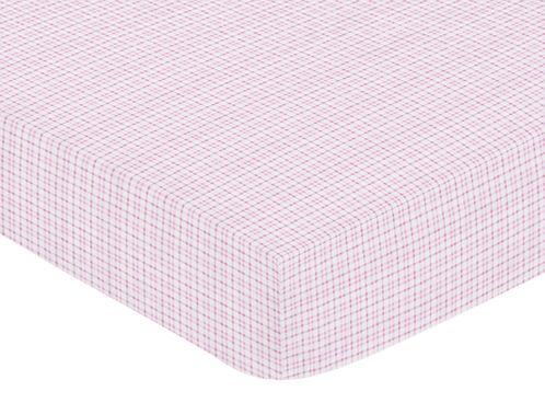 Pink and Chocolate Teddy Bear Fitted Crib Sheet for Baby and Toddler Bedding Sets by Sweet Jojo Designs - Plaid Print - Click to enlarge