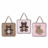 Pink and Chocolate Teddy Bear Wall Hanging Accessories by Sweet Jojo Designs