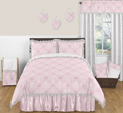 Pink and Gray Alexa Butterfly 3pc Full / Queen Girls Bedding Set by Sweet Jojo Designs - Click to enlarge