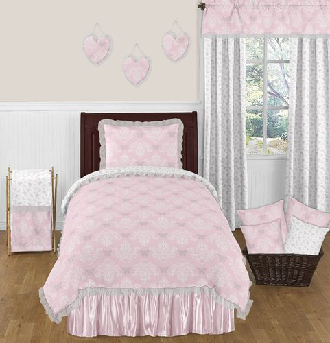 Pink and Gray Alexa Butterfly 4pc Twin Girls Bedding Set by Sweet Jojo Designs - Click to enlarge