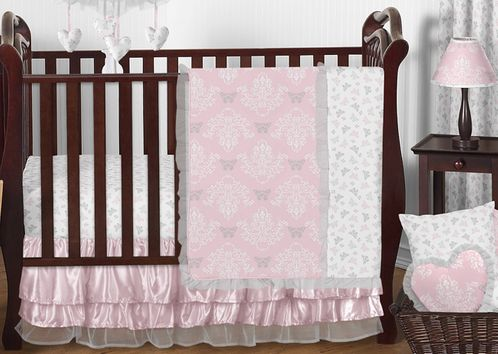 Pink and Gray Alexa Butterfly Baby Bedding - 11pc Crib Set by Sweet Jojo Designs - Click to enlarge