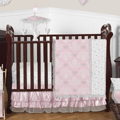 Pink and Gray Alexa Butterfly Baby Bedding - 11pc Crib Set by Sweet Jojo Designs