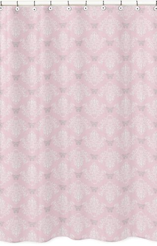 Pink and Gray Alexa Butterfly Kids Bathroom Fabric Bath Shower Curtain - Click to enlarge