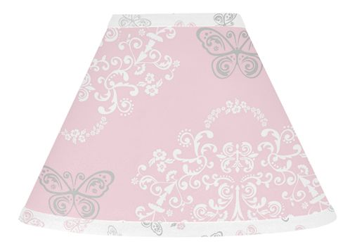 Pink and Gray Alexa Butterfly Lamp Shade by Sweet Jojo Designs - Click to enlarge