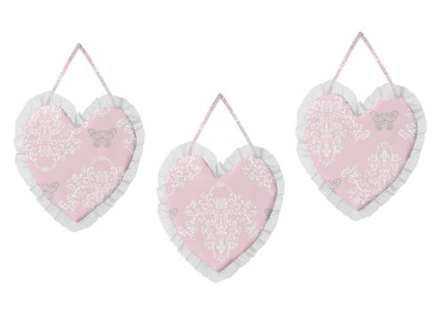 Pink and Gray Alexa Butterfly Wall Hanging Accessories by Sweet Jojo Designs - Click to enlarge