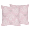 Pink and Gray Alexa Damask Butterfly Decorative Accent Throw Pillows - Set of 2