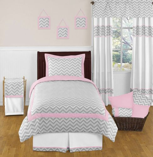 premium selection bf20e bb415 Pink and Gray Chevron Childrens and Kids Bedding 4pc Twin Set by Sweet Jojo  Designs