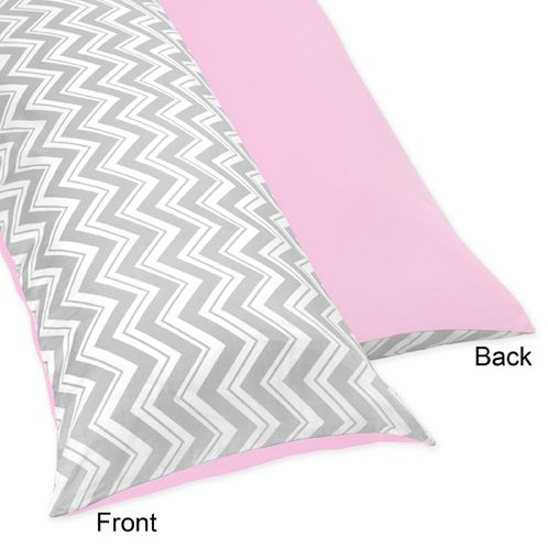 Pink and Gray Chevron Full Length Double Zippered Body Pillow Case Cover by Sweet Jojo Designs - Click to enlarge